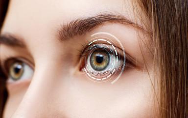 Deurstickers Iris Digital female eye in process of scanning.
