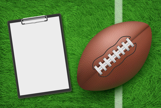 Rugby ball and clipboard lying on stadium green grass top view. American football sports strategy and game plan for playing championship competition, coach blank note. Realistic 3d vector illustration