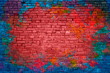Foto op Canvas Graffiti Paint splash, graffiti brick wall, colorful background
