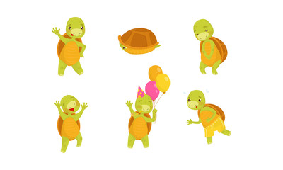 Cartoon Kids Turtle Character Vector Illustrated Set