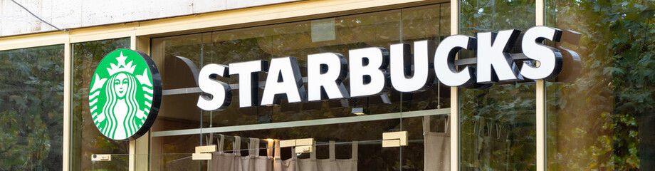 Banner with the sign and logo of Starbucks, Kassel, Germany, 21st October 2019