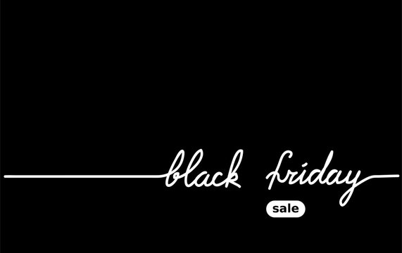 Black friday black simple vector background. One  continuous line drawing sale consept. Mininal Black friday background.