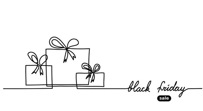 Black friday simple vector banner. One  continuous line drawing with gift, boxes. Mininal Black friday banner.