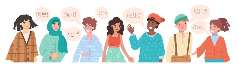 Hello in different languages. Diverse cultures, international communication concept. Native speakers, friendly men and women cartoon characters. Vector illustration