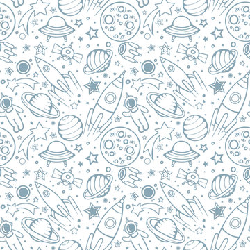 Space seamless pattern for Kids. Hand drawn space, spaceships, rocket, ufos, comets and planets with stars. Trendy kids vector background. Hand drawn space elements seamless pattern. Space doodle back