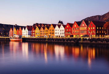 Wall Mural - View of harbour old town Bryggen in Bergen, Norway during the twilight