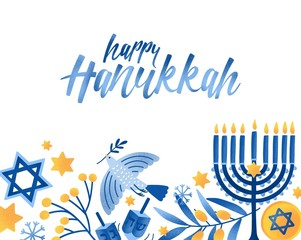 Happy hanukkah greeting card vector template. Jewish holiday celebration postcard design. Menorah candles, David star, flying dove and handwritten lettering. Jewish festival of lights postcard layout.