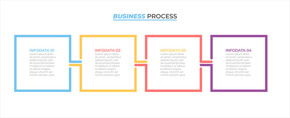 Obraz Business process infographic design label with 4 options, steps, square concept. Vector template elements. - fototapety do salonu