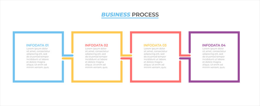 Business process infographic design label with 4 options, steps, square concept. Vector template elements.