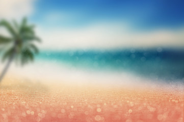 Wall Mural - sparkling sandy beach with blur scenery sea view and palm tree be side the beach