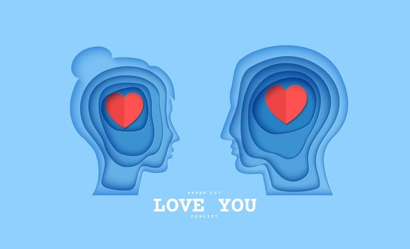 Woman and man brain head with love hearts in paper cut style. St Valentine day modern vector card concept. Silhouette of papercut layered couple people with think of love in brain.