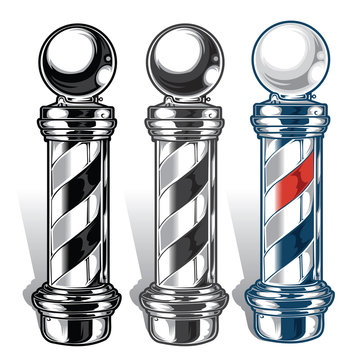 Barber Pole Black Red Blue Vector Illustrator