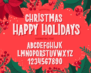 Fototapeten Retro Christmas font. Holiday typography alphabet with festive illustrations and season wishes.