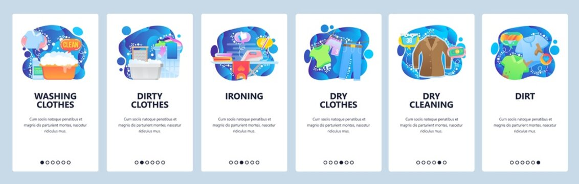Mobile app onboarding screens. Laundry service, washing clothes, dry cleaning, ironing. Menu vector banner template for website and mobile development. Web site design flat illustration