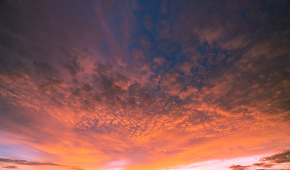 Beautiful cloudscape. Dramatic sunset sky abstract background. Art picture of sky at sunset. Sunset and clouds for life inspiration background. Nature background. Peaceful and tranquil concept.