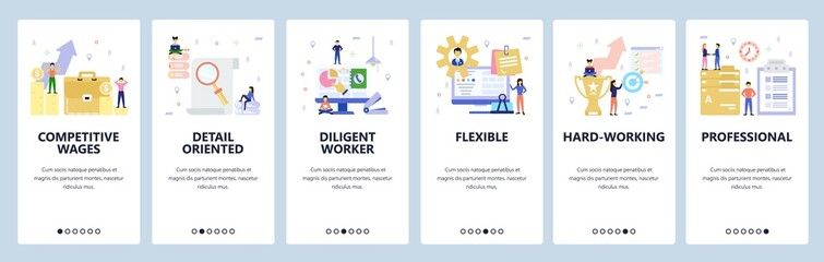 Mobile app onboarding screens. Business and office workspace, team work, achievements, contract. Menu vector banner template for website and mobile development. Web site design flat illustration