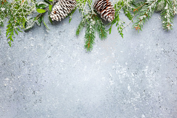 Christmas or winter background with a border of green and frosted evergreen branches and pine cones...