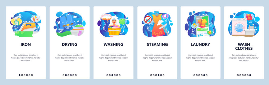 Mobile app onboarding screens. Laundry service icons, iron, dry cleaning, steaming, washing machine. Menu vector banner template for website and mobile development. Web site design flat illustration