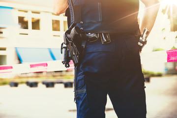 Policeman on on a crime scene investigation