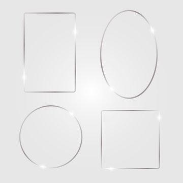 Metal shiny glowing frames