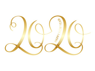 Wall Mural - HAPPY NEW YEAR 2020 vector brush calligraphy banner with swashes
