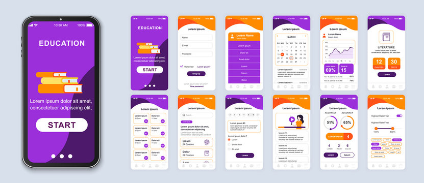 Education mobile app smartphone interface vector templates set. Online courses web page design layout. Remote studying. Pack of UI, UX, GUI screens for application. Phone display. Web design kit