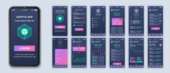 Cryptocurrency app smartphone interface design vector templates set. Mobile wallet. Crypto blockchain. Investing online. Web page design layout. Pack of UI, UX, GUI screens for application kit