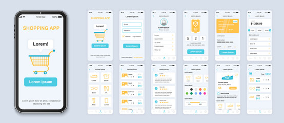 Fototapeta Shopping app interface design vector templates set. Online fashion store web page design layout. Pack of UI, UX, GUI screens for application. Phone display. Mobile clothes shop web design kit obraz