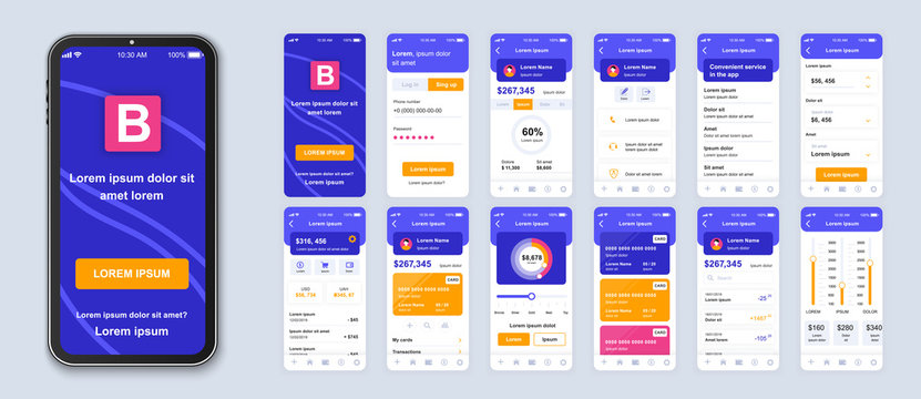 Banking smartphone interface vector templates set. E wallet app. Credit and deposit online. Web page design layout. Pack of UI, UX, GUI screens for application. Phone display. Web design kit