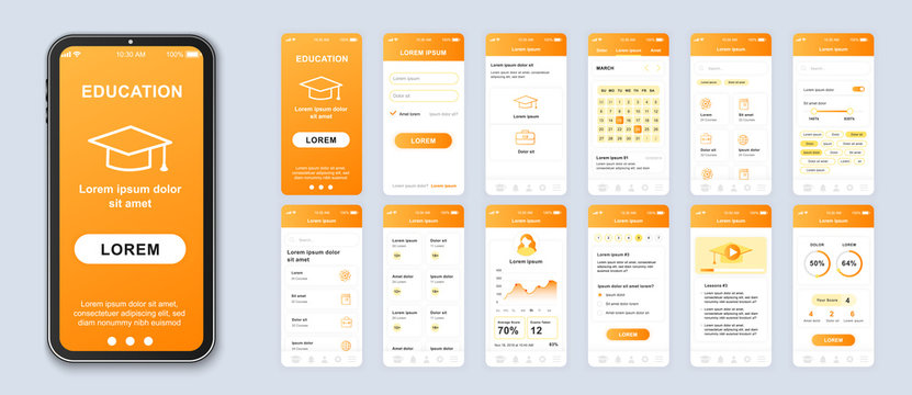 Education smartphone interface vector templates set. Studying online mobile app orange web design layout. Pack of UI, UX, GUI screens for application. Phone display. Web design kit