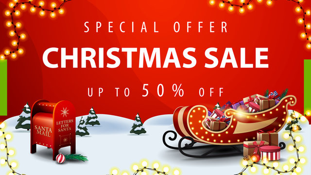 Special offer, Christmas sale, up to 50% off, red discount banner with cartoon winter landscape, Santa letterbox and Santa Sleigh with presents