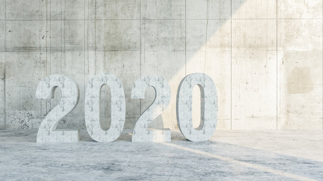 No. 2020. Text from flooded concrete against the background of an old concrete wall lit by sunlight, conceptual interior design