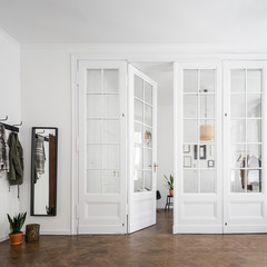 Apartment interior with open doors