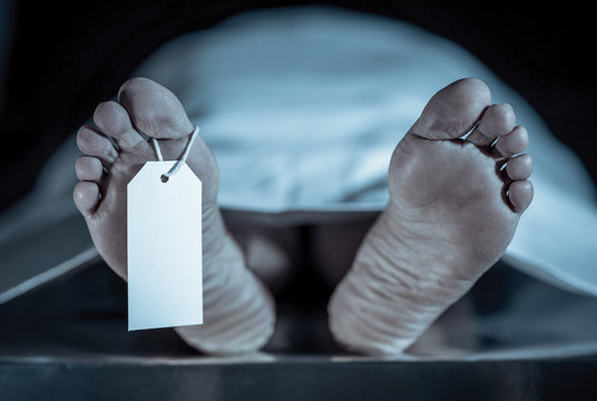 Cadaver on autopsy table at morgue, label tied to toe, close-up