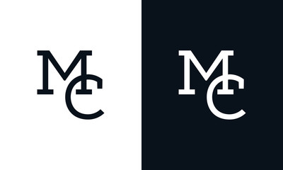 Minimalist line art letter MC logo. This logo icon incorporate with two letter in the creative way.