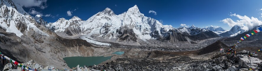 98MP Day panoramic view of  mountains: Mount Everest 8848m, Nuptse 7861m, Everest base camp path and Khumbu Glacier from Kala Patthar 5644m,  Khumbu valley, Sagarmatha national park, Nepalese Himalaya