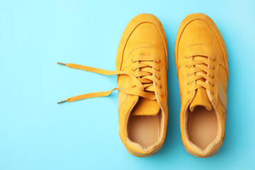 Wall Mural - Pair of stylish shoes on light blue background, top view. Space for text