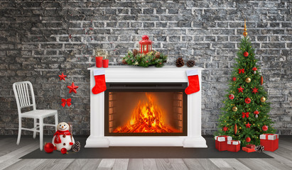 Decorated fireplace and Christmas tree. Brick wall in background. Christmas socks on fireplace.