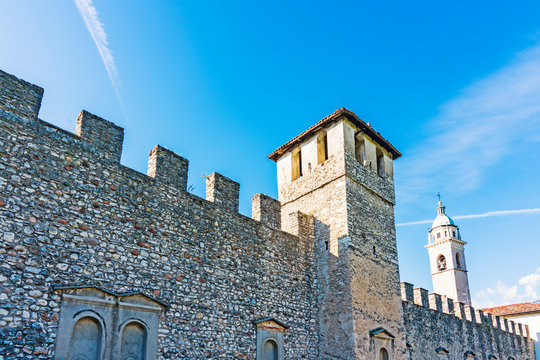 city wall and towers in historical town Rovereto, Italy