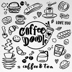 Fotobehang Vintage Poster Cute doodle coffee shop icons. Vector outline coffee and tea drawings for cafe menu