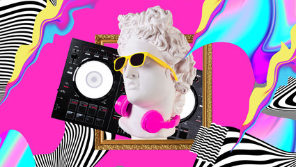 Papiers peints Magasin de musique Apollo in headphones and sunglasses on a cosmic background. Concept art collage. Poster design.