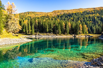 Wall Mural - Fantastic Sunny Day is in Mountain Lake. Lake Obernberg, Stubai Alps,Tyrol, Austria