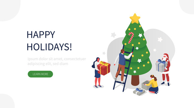 People Characters and Santa Claus Decorating Christmas Tree, Preparing Gift Boxes and Celebrating Winter Holidays. Merry Christmas and Happy New Year Concept. Flat Isometric Vector Illustration.