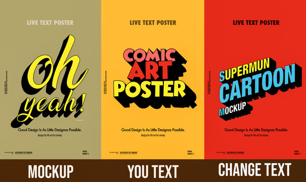 Trendy comical 3d text mockup  poster