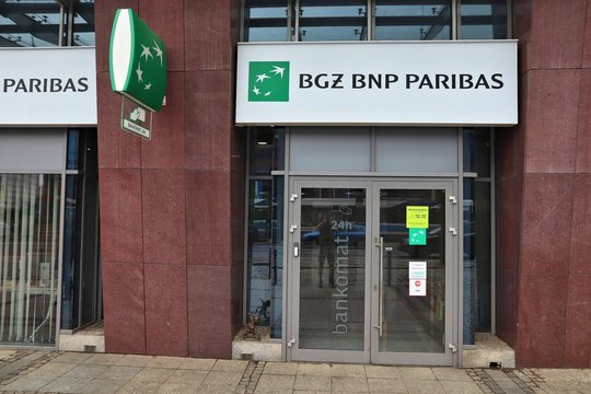 WROCLAW, POLAND - MAY 11, 2018: BGZ BNP Paribas bank branch in Wroclaw, Poland. There are 36 banking companies present in Poland (2018).