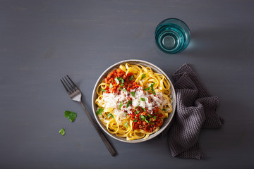 Fototapete - tagliatelle bolognese with herbs and parmesan, italian pasta