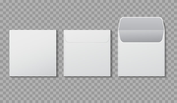 Envelope square shape mockup. Template paper letter, folder. Standard white blank letter envelopes. Open vertical and horizontal envelope letter design mockup for office, mail. vector