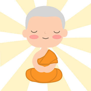 monk in Buddhism cartoon vector