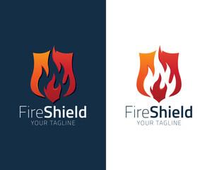 Shield Fire Flame Logo design vector template. Fire Logotype concept icon Illustration