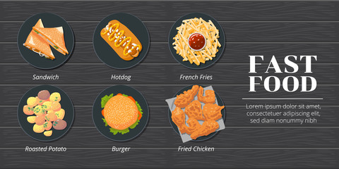 sandwich,hotdog,french fries,roasted potato,hamburger,fried chicken fast food vector set collection graphic design